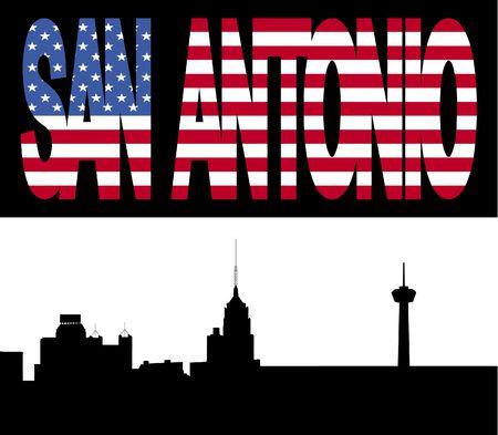 San Antonio Skyline with San Antonio flag text illustration illustration