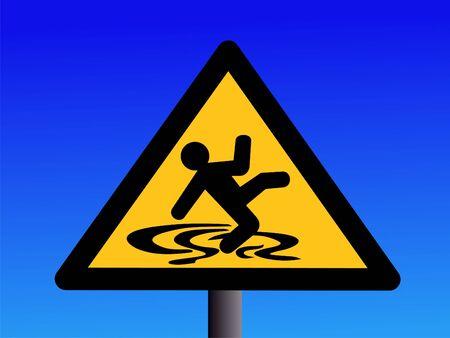 warning wet and slippery floor sign on blue illustration