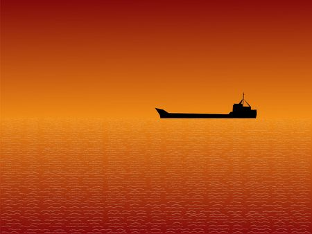 Oil tanker at sunset with beautiful sky illustration illustration