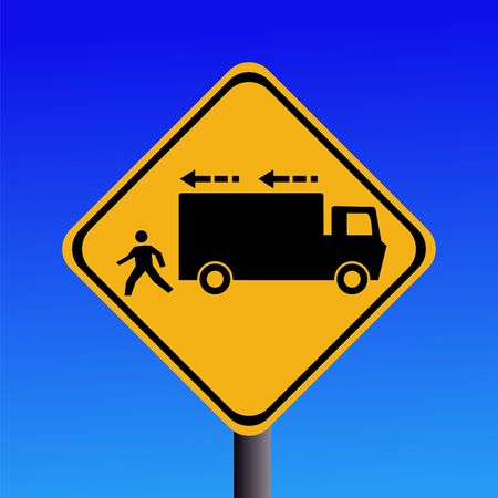 backing: Warning trucks reversing sign on blue illustration Stock Photo