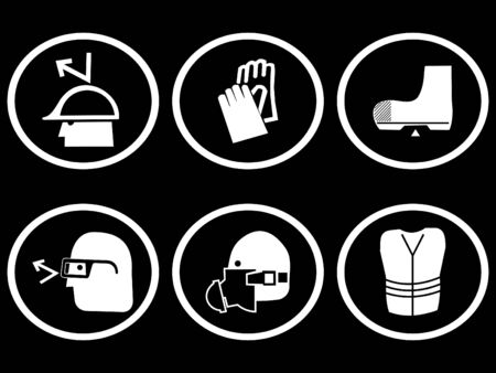 construction site safety symbols for head hands and feet illustration Stock Illustration - 2809049