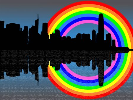 refracted: Hong Kong skyline with colourful rainbow reflected illustration