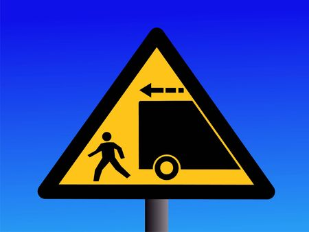 backwards: Warning trucks reversing sign on blue illustration Stock Photo