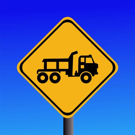 symbol vigilance: Warning trucks construction site entrance sign on blue illustration