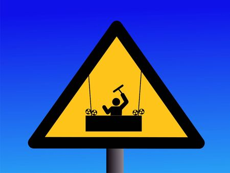 symbol vigilance: Warning window cleaners working overhead sign on blue illustration Stock Photo