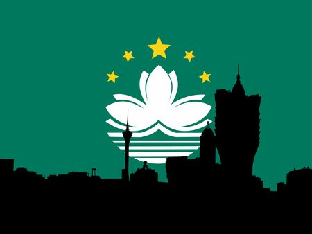 macau: Macau skyline with their flag illustration Stock Photo