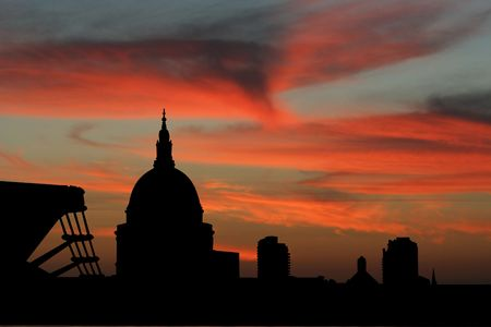 st pauls: St Pauls Cathedral and Millennium Bridge at sunset illustration Stock Photo