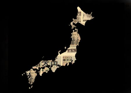 japanese currency: Japan map with collage of Japanese currency illustration Stock Photo