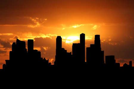 singapore skyline: Singapore skyline at sunset with beautiful sky illustration