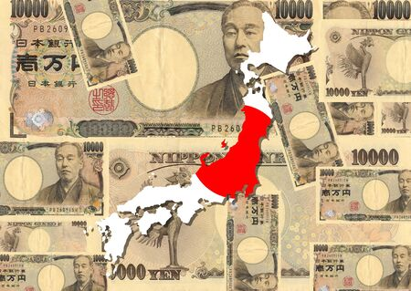 Japan map with collage of Japanese currency illustration Stock Illustration - 2848211