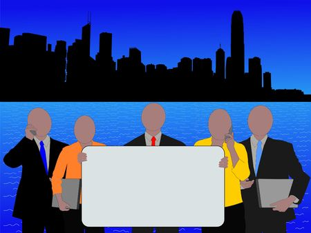 hong kong skyline: Business team with sign and Hong Kong skyline illustration Stock Photo