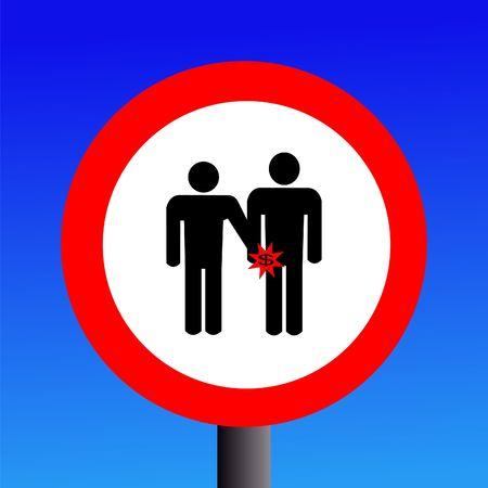 vigilance: warning pickpockets sign on blue illustration