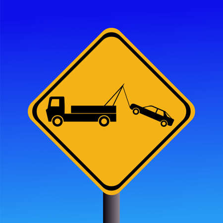 symbol vigilance: warning tow away zone sign on blue illustration Stock Photo