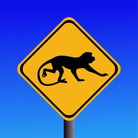 warning monkey sign on blue illustration Stock Illustration - 2923617