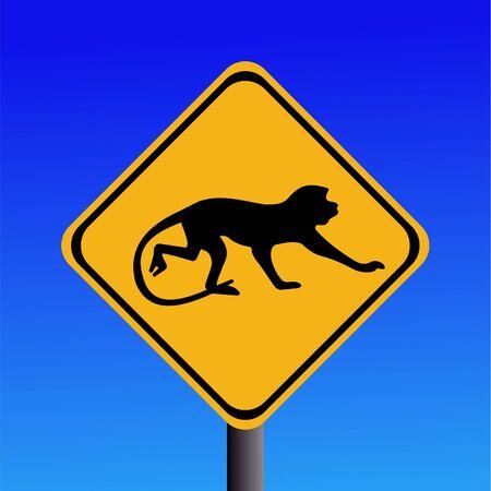 warning monkey sign on blue illustration