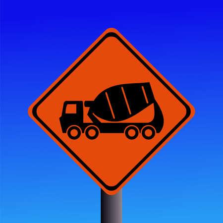 Warning cement mixer sign on blue illustration Stock Photo