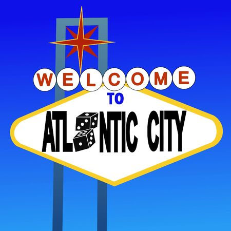 atlantic city: welcome to Atlantic City sign with dice illustration