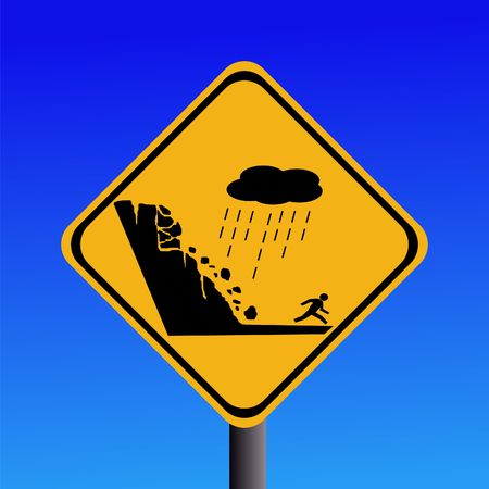 cliff edge: warning risk of landslide during heavy rain sign Stock Photo