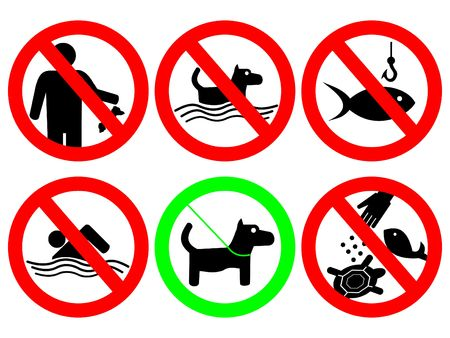 lead: park rules no littering feeding animals sign Stock Photo