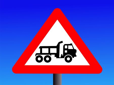 symbol vigilance: Warning trucks construction site entrance sign