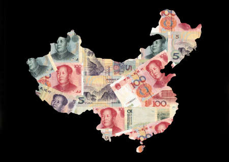map of china with collage of colourful Chinese currency illustration illustration