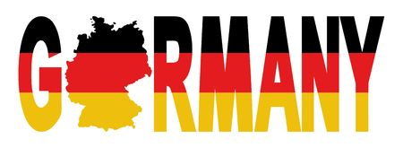 Germany text with map on German flag illustration illustration
