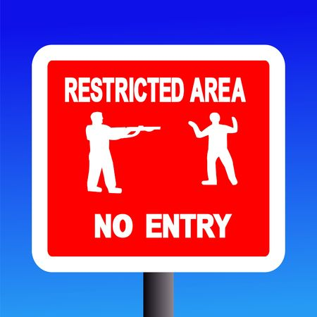 restricted area no entry sign on blue illustration Stock Illustration - 2996837