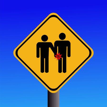 warning pickpockets sign on blue illustration Stock Illustration - 3006069