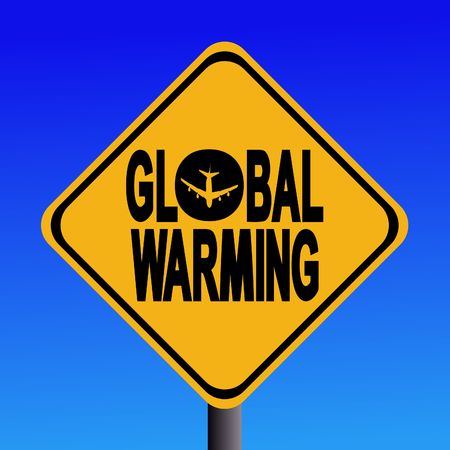 co2: Attention global Warming from air travel sign