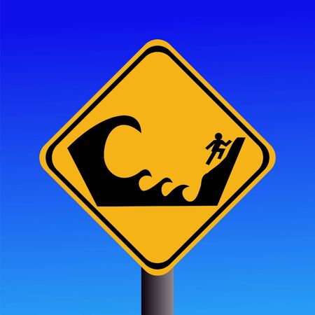 instruct: Warning Tsunami prone area seek higher ground Stock Photo