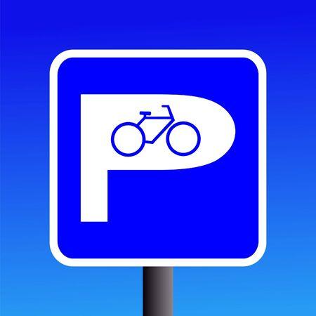 bicycle parking sign on blue sky illustration illustration