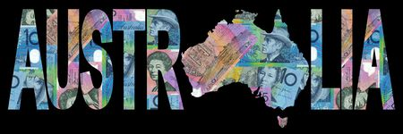 map of Australia with text on collage of colourful Australian Stock Photo