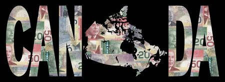 canadian currency: map of Canada with text on collage of colourful Canadian currency illustration