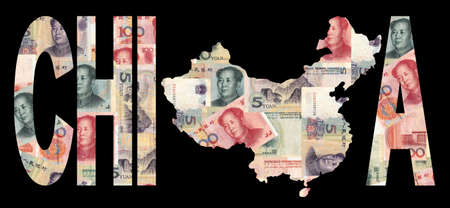 map of china with text on collage of colourful Chinese currency illustration illustration