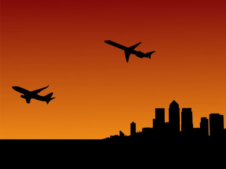 docklands: planes departing with London Docklands skyline at sunset Stock Photo