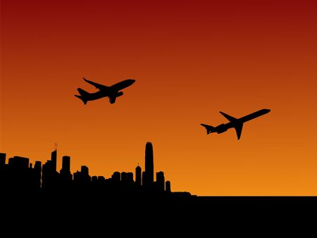 planes departing with Hong Kong skyline at sunset photo