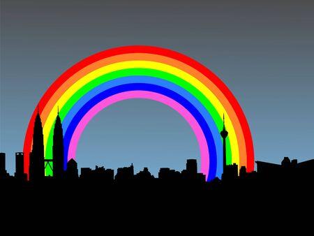 red light district: Kuala Lumpur skyline with colourful rainbow illustration Stock Photo