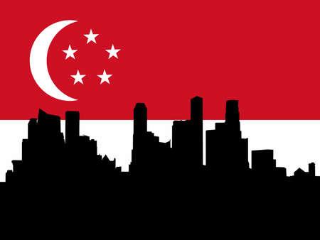 singaporean flag: Singapore Skyline against Singaporean flag illustration Editorial