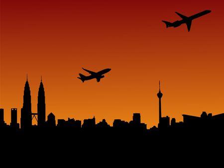 planes departing Kuala Lumpur at sunset illustration illustration