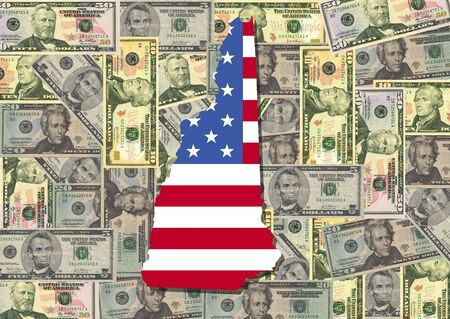 Map of New Hampshire with American flag and dollars illustration illustration