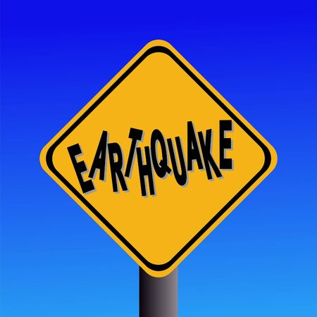 hazard sign: earthquake hazard sign on blue sky illustration Stock Photo