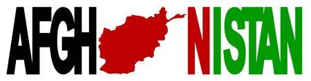 afghan: Afghanistan text with map on Afghan flag illustration