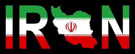 iranian: Iran text with map on Iranian flag illustration Stock Photo