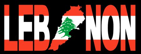 lebanon: Lebanon text with map on lebanese flag illustration Stock Photo