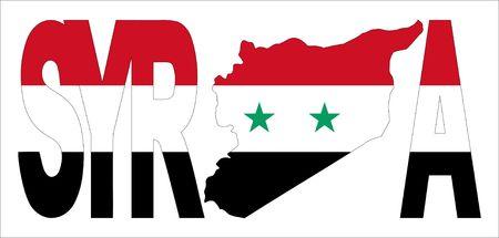 Syryjski: Syria tekst z mapÄ… na ilustracji Flaga syryjski