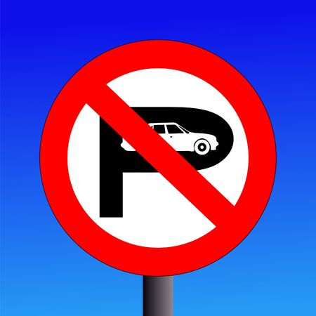 parking is prohibited: No parking sign on blue sky illustration