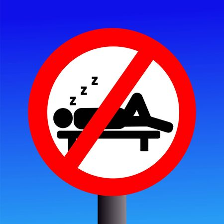 snooze: No sleeping sign on blue illustration