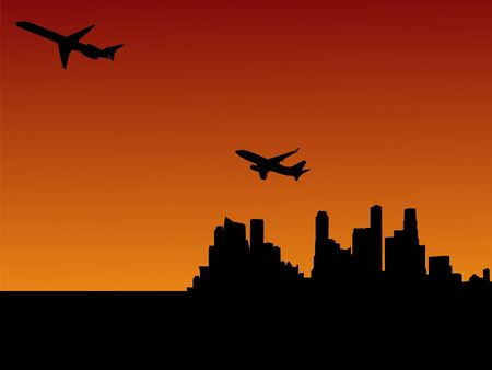 planes departing Singapore at sunset illustration illustration