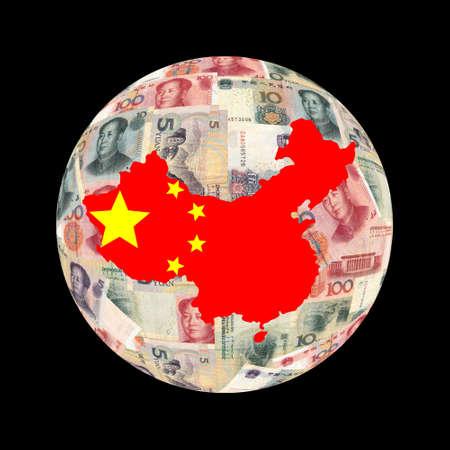 globe illustration: China map flag on Chinese currency globe illustration