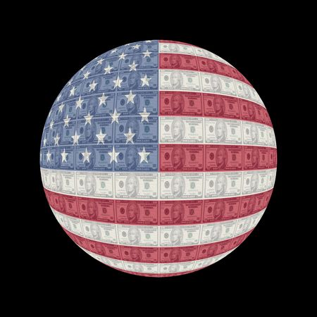 American flag currency globe button illustration illustration